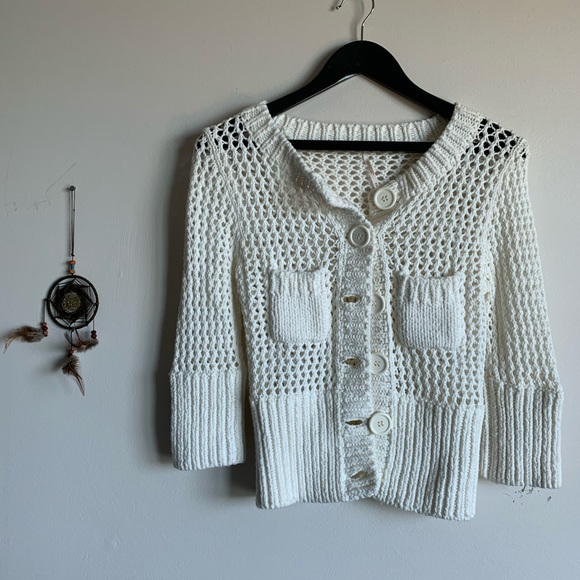 Free People Crocheted Cardigan 3/4 sleeve